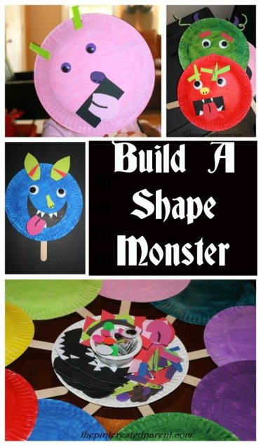 Build a shape monster mask - we did this at a recent Halloween craft party for the kids & it was a huge hit.