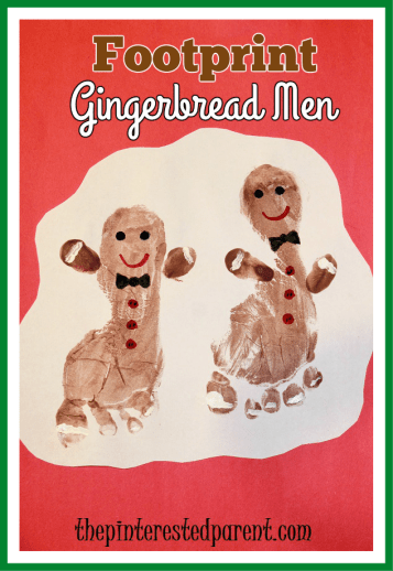 Footprint gingerbread man craft - cute little Christmas keepsake of your children's feet