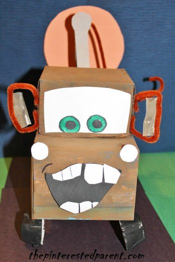 Tissue box Tow Mater character craft - use recyclables to make this cute tow truck