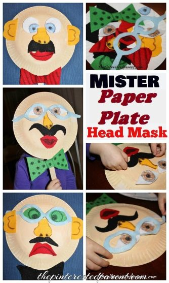 Mister Paper Plate Head Mask - A fun changeable mask made out of felt pieces. Kid's crafts