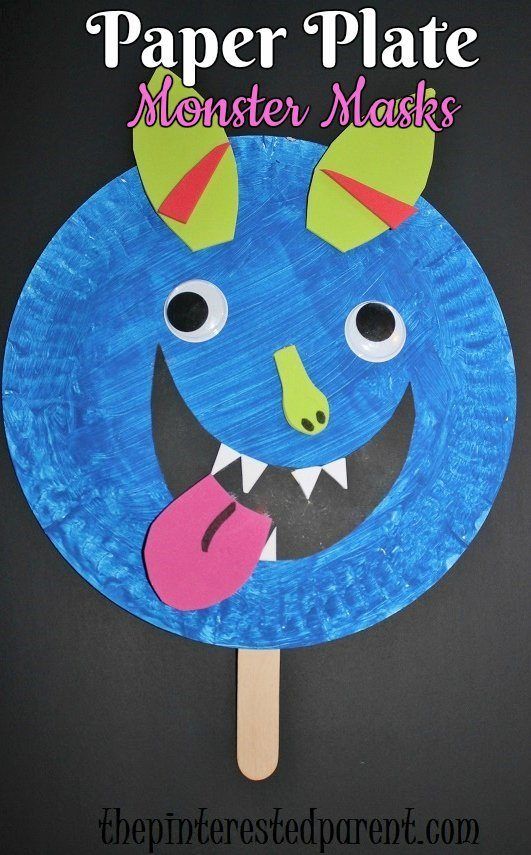 Paper plate monster masks for Halloween - kidu0027s crafts  sc 1 st  The Pinterested Parent & Paper Plate Shape Monster Masks u2013 The Pinterested Parent
