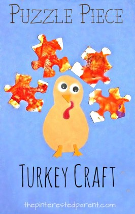 Puzzle piece recyclable turkey craft - Thanksgiving and fall arts and crafts for kids - preschoolers.