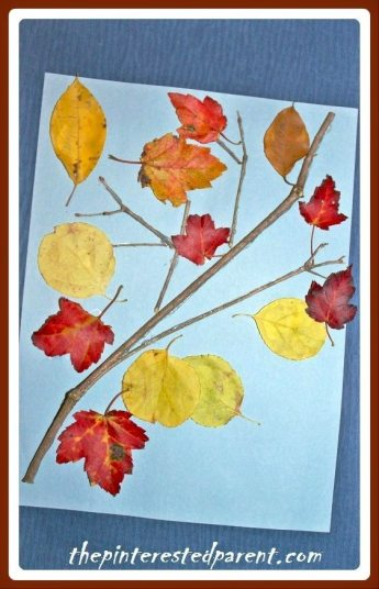 Simple nature craft using twigs & leaves