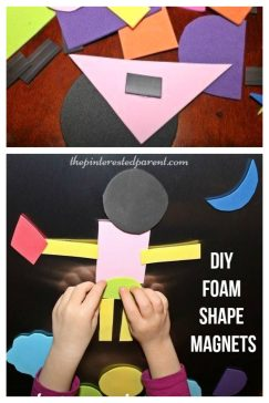 DIY foam shape magnets. These are great for creative and imagination play. Easy to make - kid's arts, crafts and activities.