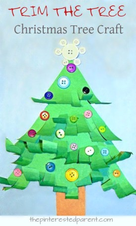 A great fine motor skill activity and Christmas craft - trim and curl the Christmas tree. Winter and holiday crafts for kids, toddlers, and preschoolers - button crafts