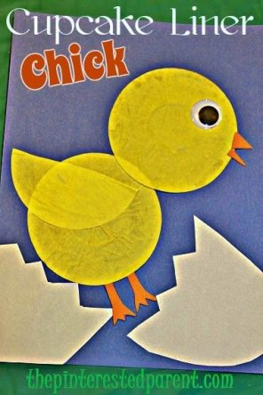 Cupcake Liner Chick Craft - easy kid's crafts