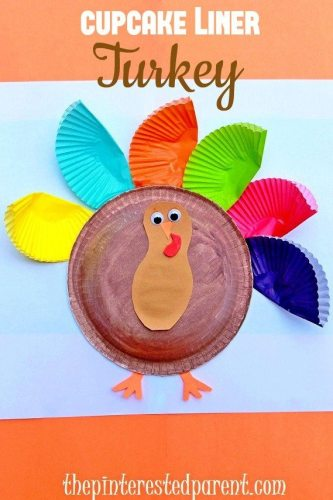 Cupcake Liner Turkey - Thanksgiving crafts for kids