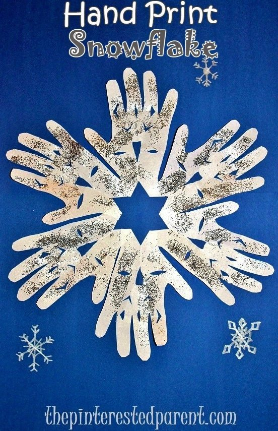 Hand Print Snowflake Craft - Winter u0026 Christmas kidu0027s ...  sc 1 st  The Pinterested Parent & Snowflake Crafts For Kids u2013 The Pinterested Parent