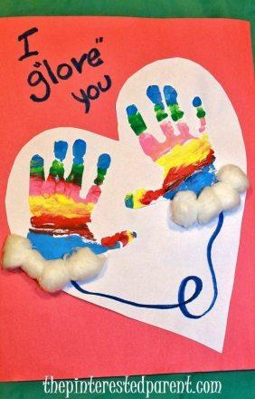 I glove you - hand print craft A cute idea for kid's winter craft
