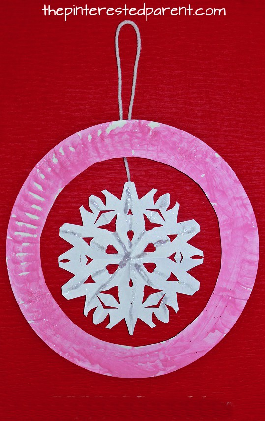 Paper Plate Snowflake Ornament Kid's Craft - Christmas & Winter crafts