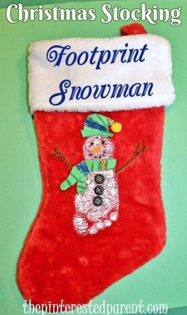 Footprint Snowman Christmas Stocking - An easy keepsake stocking for the holidays