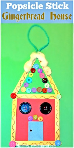 Popsicle stick gingerbread ornament - Christmas arts and crafts activities for kids. Craft sticks and buttons