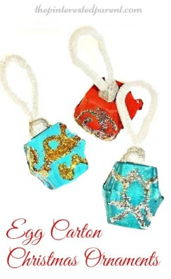 Egg Carton Christmas Ornaments - holiday arts and crafts for kids with recyclables.