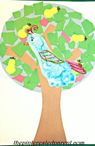 A partridge in a pear tree footprint craft for CHristmas