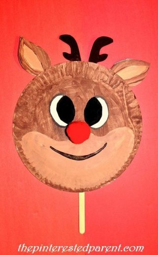Paper plate 'Rudolph inspired' reindeer character craft & mask