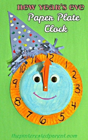 New Year's Eve Paper Plate Celebration Clock - craft for kids