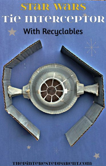 Star Wars Tie Interceptor Craft made out of paper bowls & recyclables
