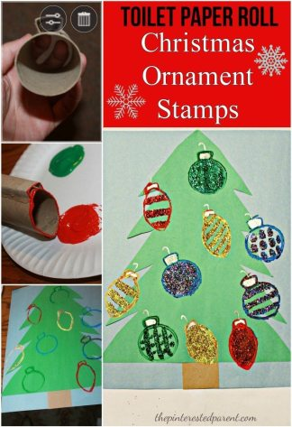 Toilet Paper Roll Christmas Ornament Stamps