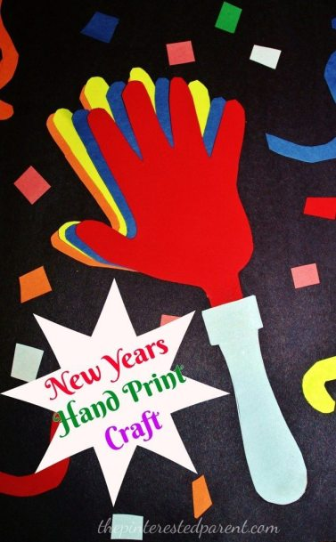 hand print hand clappers - An easy New Years craft. My daughter loved cutting the confetti