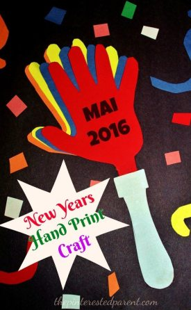 hand print hand clappers - An easy New Years craft. My daughter loved cutting the confetti,