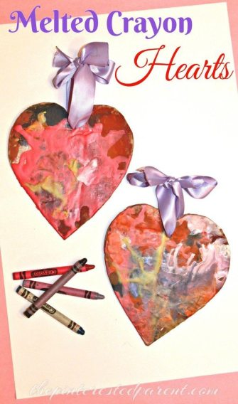 Melted Crayon Hearts. This art & craft for kids is perfect for Valentine's Day