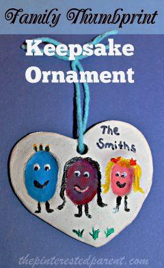 Salt dough family fingerprint keepsake ornament