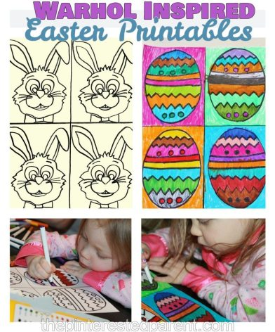 Andy Warhol Inspired Easter arts & crafts projects for kids with free printables for coloring or painting.