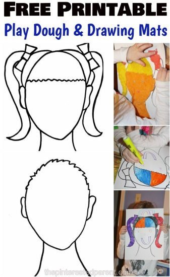 Free Printable boy & girl face mats for Play dough & for drawing inspiration for kids. Arts and crafts and creative activities.