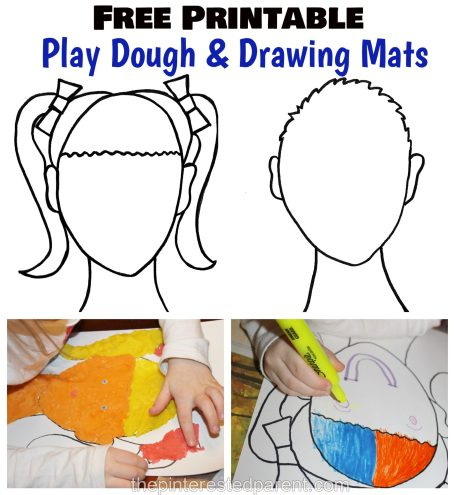 Free Printable mats for Play dough & for drawing inspiration for kids. Arts and crafts and creative activities
