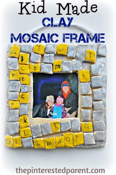 Diy salt play dough mosaic frames - a great gift idea for the kids to make- clay crafts.