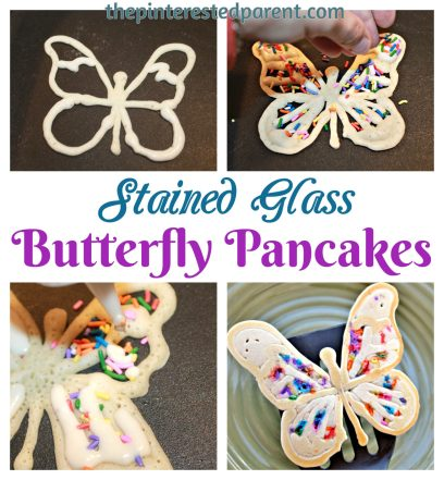Stained Glass Butterfly Pancake - the kids will love these colorful springtime pancakes made with rainbow sprinkles