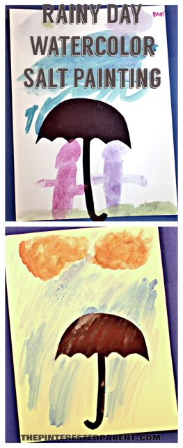 Watercolor & Salt Paintings - spring rainy day art for the kids