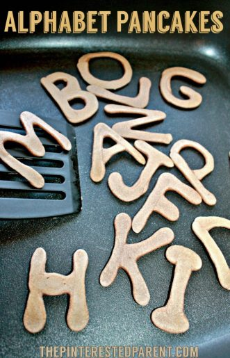 Alphabet Pancakes - easy pancake art for kid's breakfast -fun food ideas