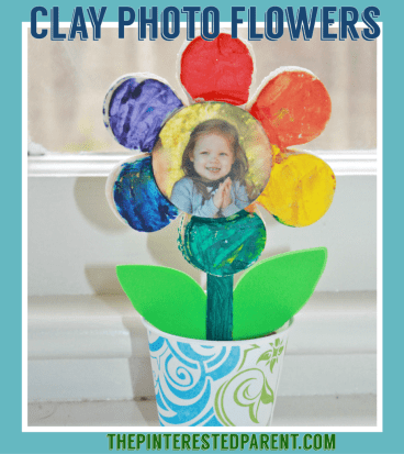 Painted Salt Dough Clay Flowers with photo. This adorable spring or summer arts & crafts project for kids would also make a wonderful gift for Mother's Day or any special occasion.