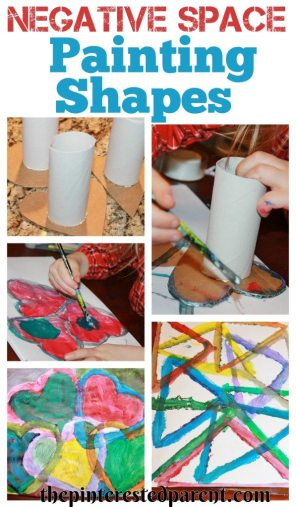 Simple to make shapes for negative space painting. Fun & easy art projects for kids.
