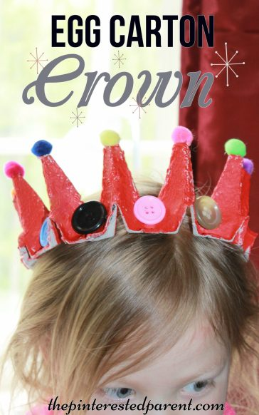 Egg carton crown craft - use recyclabes to make this dress up crown or tiara for pretend play for the kids
