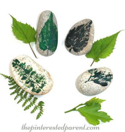 Leaf printed nature arts & crafts - outdoor fun for kids.