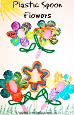 Let you kids Paint, color or scribble with markers to make these lovely plastic spoon flowers.
