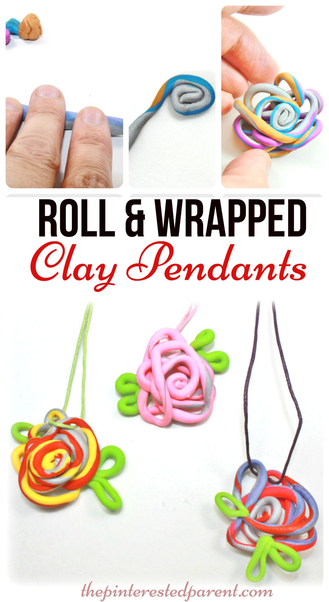 Roll wrapped clay pendants the pinterested parent roll wrapped polymer clay pendant charms an easy fun to make jewelry arts aloadofball Gallery