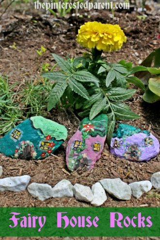 These painted fairy house rocks will be prefect to line the edge of a fairy garden for you or your kids