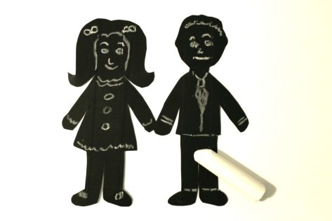 Chalkboard paper dolls - fun for kids to draw on the faces & clothes and erase again. Arts & crafts