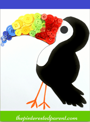 Button Toucan craft with free printable template- arts & crafts for kids , birds