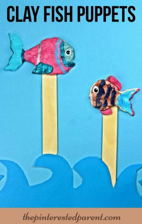 Painted air dry clay fish puppets - summer arts & crafts for kids