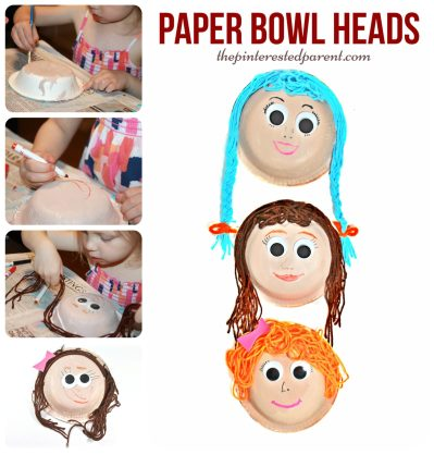 Paper bowl heads & faces with yarn hair. A fun arts & crafts project for kids.