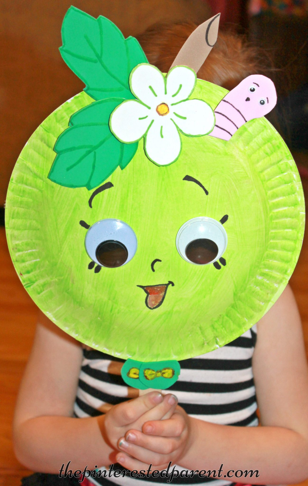 Paper plate mask inspired by Shopkins Green Apple Blossom - kidu0027s character crafts and activities for & Shopkins Inspired Paper Plate Mask u2013 The Pinterested Parent
