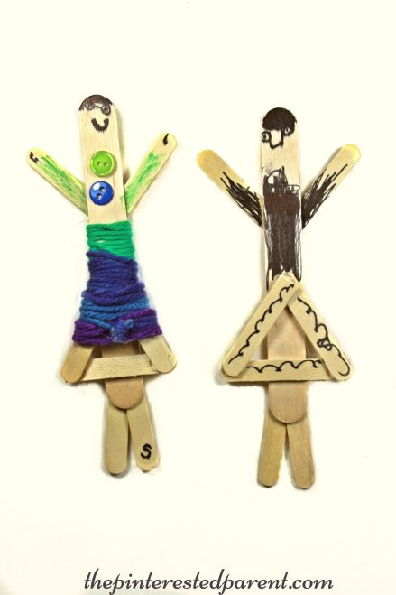 Yarn Wrapped craft stick dolls. A cute craft with fine motor skills. Kids will love to make & play with these. Arts & Crafts for children..
