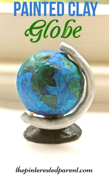 painted air dry clay globe sculpture -would be great for Earth Day craft for the kids