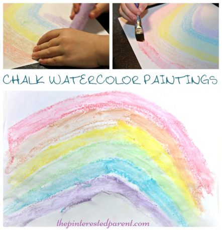 Chalk Watercolor Paintings - easy & beautiful art for kids - rainbow arts & crafts for children