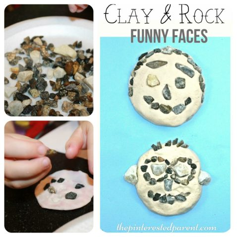 Clay Rock Nature Funny Faces - a fun summer arts crafts project for the kids.