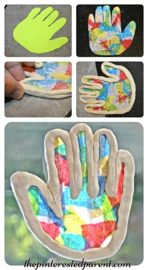Clay Suncatchers - summer arts and crafts projects for kids made with clay & tissue paper.